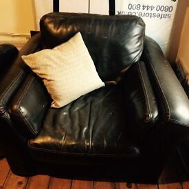 Large brown genuine leather armchair