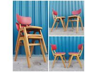 4 x Beautiful 70s Vintage Industrial Stacking Stackable School Cafe Diner Chairs