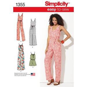 SIMPLICITY SEWING PATTERN MISSES' MAXI DRESS LONG  SHORT JUMPSUIT XXS-XXL 1355