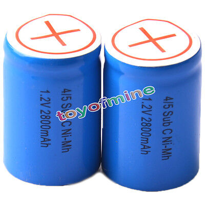 2x Ni-Mh 4/5 SubC Sub C 1.2V 2800mAh Rechargeable Battery with Tab Blue