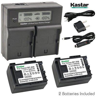 LCD Dual Charger & 2 Battery Canon BP-808 LEGRIA FS36 FS37 FS305 FS306 FS307