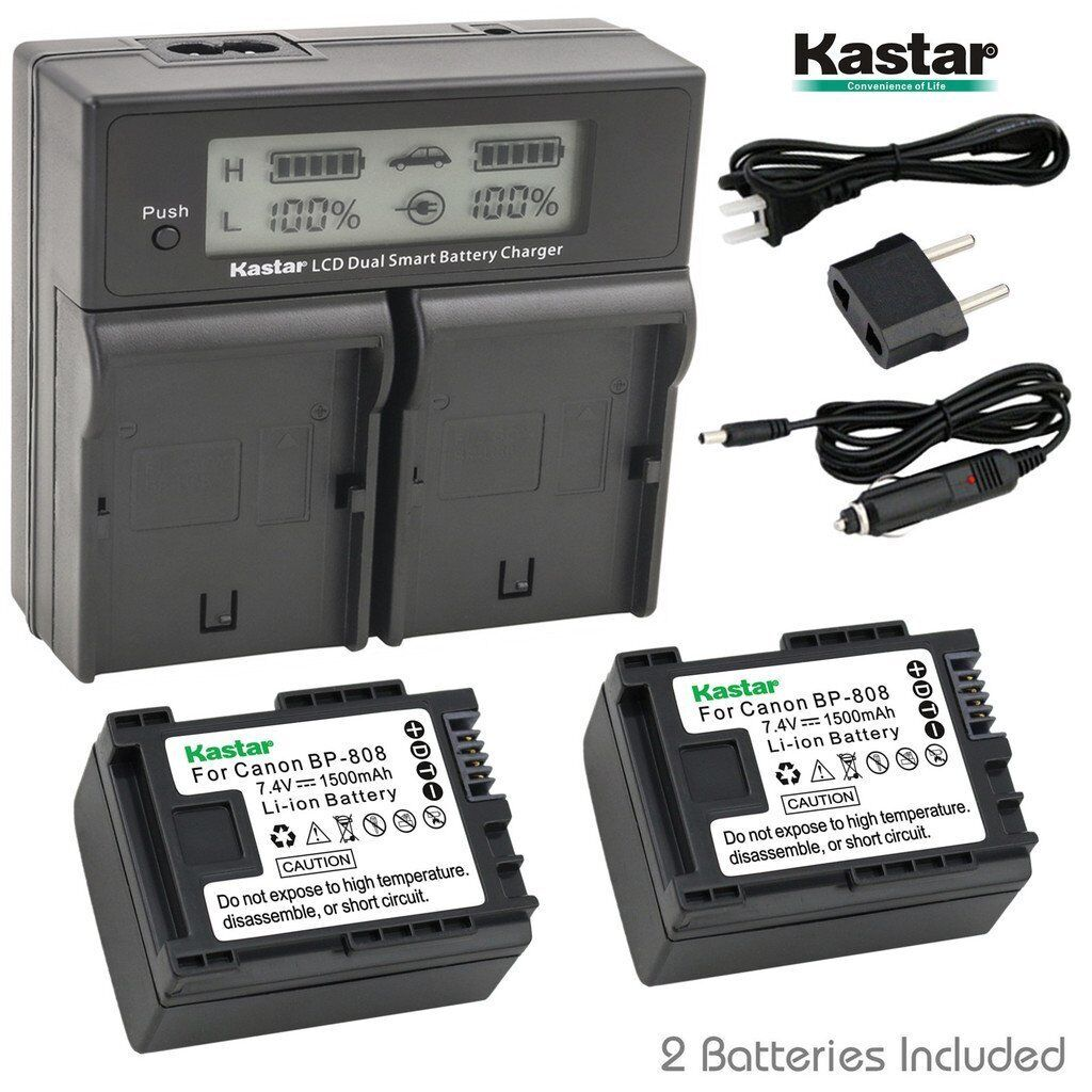 Kastar Lcd Dual Charger & 2 Battery Canon Bp-808 Fs300 Fs...