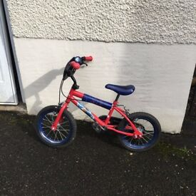 """14"""" Boys Spiderman bike in great condition."""