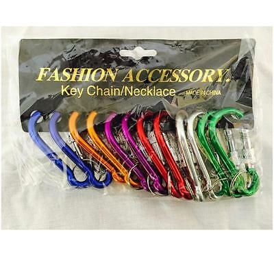12 Carabiners Aluminum Alloy D Screw Lock Carabiner Clip Hook Key Chain - 2 3/4""
