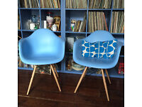 A Set of Two Blue Eiffel Style Eames Inspired Armchairs Chairs 2 pairs available