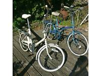 Two vintage Raleigh Shopper Town Bikes Bicycles