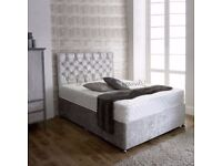 ❋★❋ CLASSIC SALE ❋★❋ DOUBLE CRUSHED VELVET DIVAN BED BASE WITH DEEP QUILTED MATTRESS
