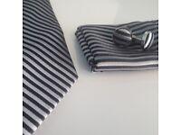 Pure Silk Tie Set Cuff Links Hanky Striped New