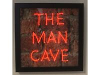 THE MAN CAVE RED NEON SIGN BRICK BACKGROUND FRAME LIGHT LIGHTING GLOW ART WALL CUSTOM SIGNS RETRO