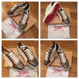 Christian Louboutin White Loubs Unisex Size 6 to 11 Trainers Sneakers Shoes Footwear Box & Dust Bag