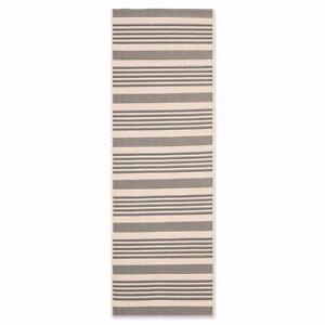 Like New, Safavieh Courtyard Stripes Indoor/Outdoor Runner in Grey/Bone