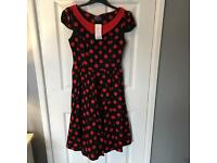 Size 14 - Black and Red Polka Dot Dress