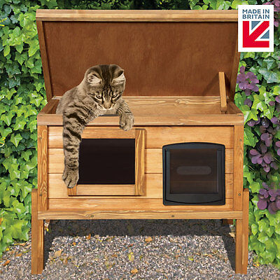 External Self Heating Outdoor Cat House /  Kennel with One Way Privacy Window