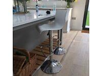 2 Atlantic bar stools - white and chrome