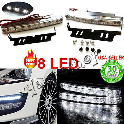 2pc 8LED Daytime Driving Running Light DRL Car Fog Lamp Waterproof White DC 12V