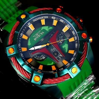 Invicta Bolt Viper Star Wars Boba Fett 54mm Green Chronograph Rubber Watch New