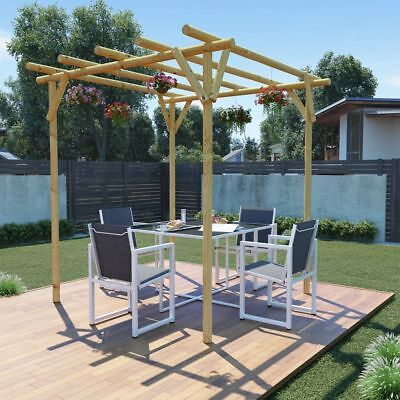 Dining Area Garden Pergola Outdoor Decoration 2x2x2 m Impregnated Pinewood UK