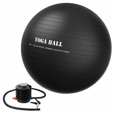 """Medium Exercise Balance Yoga Ball 26"""" 65cm Black 150kg for 5'5"""" to 5'11"""" FAST K6"""