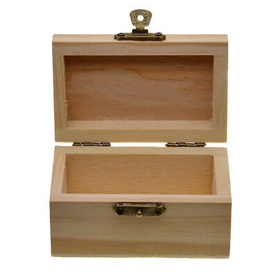 Unpaint Natural Wooden Storage Box Jewelry Gift Memory Chest Wood Craft Box (Unfinished Wood Chest)