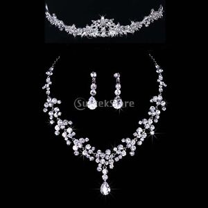 Bridal-Wedding-Party-Jewelry-Set-Crystal-Rhinestone-Necklace-Earrings-Tiara