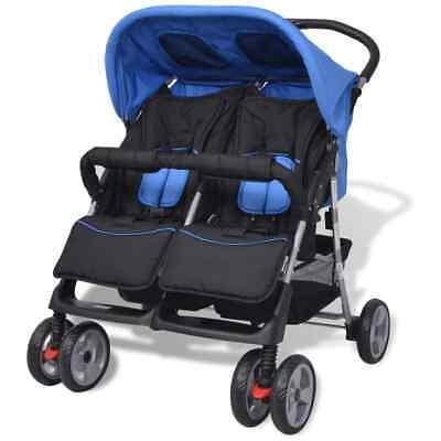 vidaXL Tweelingbuggy Staal Blauw en Zwart Kinderwagen Wandelwagen Blauwe Zwarte