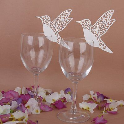 50pcs Laser Cut Bird Table Wine Glass Name Place Card for Wedding Party Decor US - Placecards For Wedding