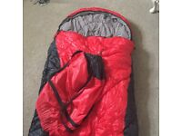 Red thick sleeping bag with bag