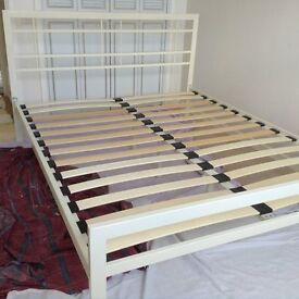 King Size cream metal bed frame