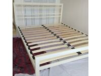 King Size cream metal bed frame
