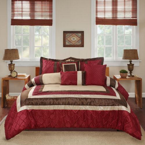 7 Piece MYA Burgundy Bed in a Bag Patchwork Comforter Set-Queen King Calking