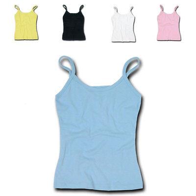 DECKY Women's Cotton Jersey Rib Spaghetti Strap T-Shirt Camisole Tank S M L XL Cotton Spaghetti Strap Camisole