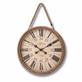 NEW IN - BRAND NEW Boulevard Rope Clock, A clear, round, rope-framed Wall Hanging Clock