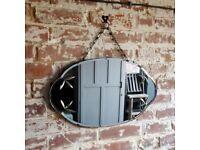 vintage mirror. antique mirror. hall wall mirror. bevelled mirror. mirror on chain. oval mirror