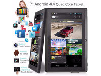 """New 7"""" Inch Android Tablet PC 8GB Quad Core 4.4 Dual Camera Keyboard/Case Option 12 Mths Warranty"""