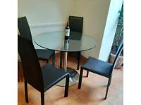Round Glass Table + 4 Dark Brown Chairs Matching Coffee & Side Tables