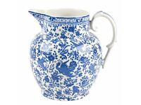 BRAND NEW - BURLEIGH Blue Regal Peacock LARGE Jug - worth £75
