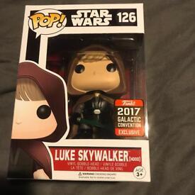 Funko Pop Vinyl Luke Skywalker Hooded Galactic Convention Exclusive Star Wars