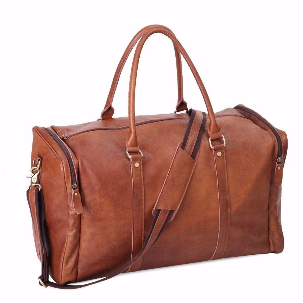 ab66af3afb1 Leathario mens leather duffle luggage weekend overnight shoulder messenger  bag