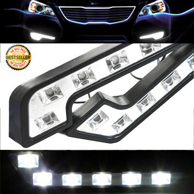 2X Luxury Super White Car Daytime Running Fog Lights kits Euro 6 SMD LED DRL 12V