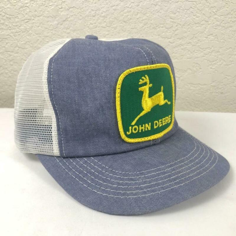 VINTAGE K PRODUCTS JOHN DEERE PATCH CHAMBRAY MESH SNAPBACK TRUCKER HAT USA