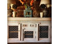 Beautiful white washed Indian sideboard/linen cupboard/tv cabinet