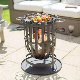 Firebasket with cooking grill