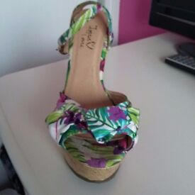 Floral wedges size 6 worn once