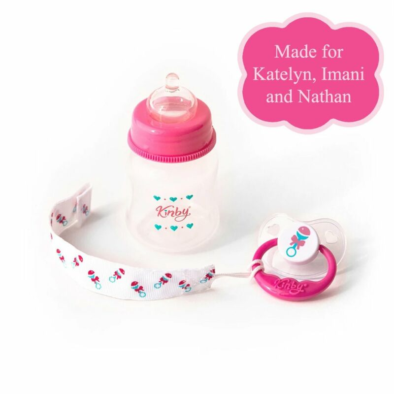 Pink Baby Bottle & Pacifier Set for Open Mouth Babies - For Kinby & Reborn Dolls