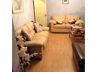 Italian leather Ivory deep cushioned sofas x3 - bargain!!