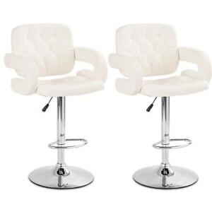 Set of 2 PU Leather Swivel Bar Stools Hydraulic Pub Chair Adjustable White - BRAND NEW - FREE SHIPPING