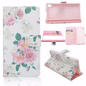 Flower Design Stand Leather Flip Wallet TPU Cover Case Skin For Sony Xperia Z4