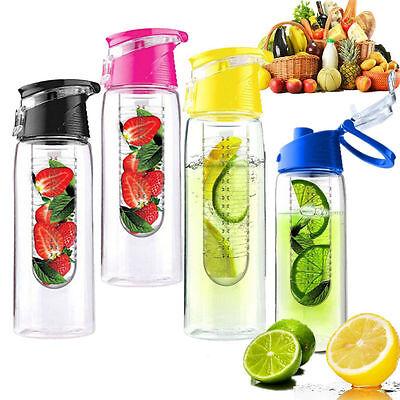 800ML Sports Fruit Infusing Infuser Water Lemon Juice Health Bottle Flip KY