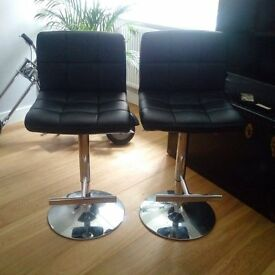 2 x Allegro Bar stools in black faux leather and chrome - 12 months old & in good condition, as new.
