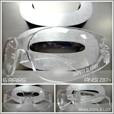 WHOLESALE LOT 6 Pairs CLEAR SAFETY GLASSES PROTECTIVE EYEWEAR ANSI Z87 (Polycarbonate Glasses Wholesale)